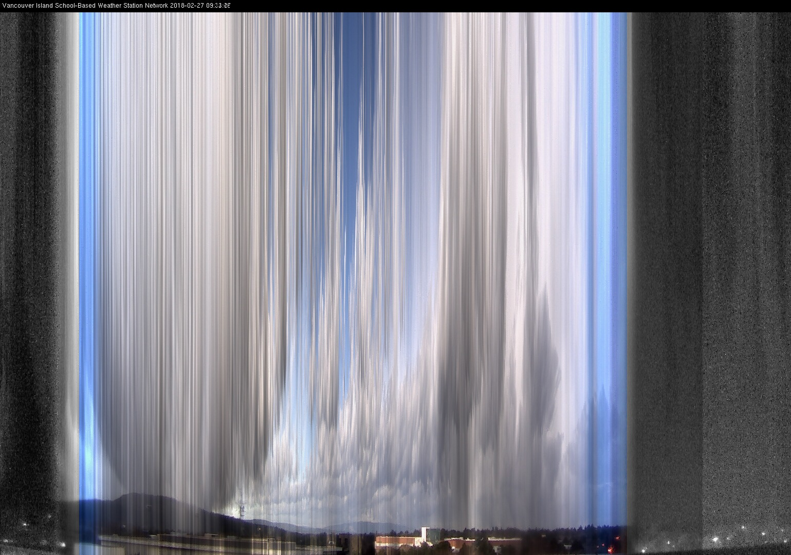 image of the sky seen from UVic, each column of pixels is a different minute, keogram